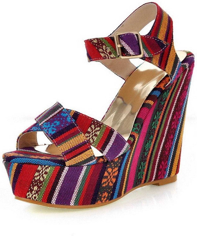 AmoonyFashion Women's Buckle Open Toe High Heels Fabric Assorted color Sandals