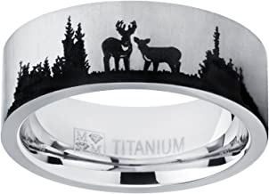 Metal Masters Co. Men's Outdoor Hunting Titanium Ring Wedding Band with Laser Etched Deer Stag Scene 8mm