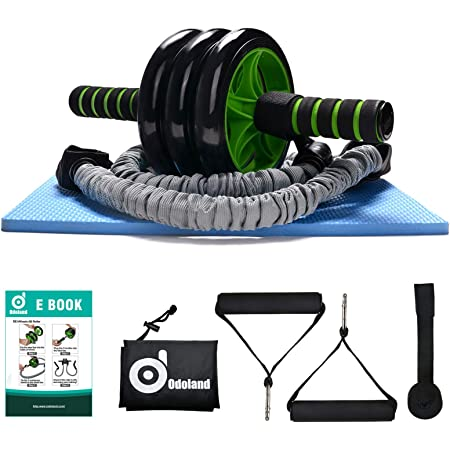 TOMSHOO Multifunctional AB Wheel Rollers/&Push up Bars Workout Exercise Equipment with Knee Pad and Resistance Bands Perfect Home Gym Equipment for Men Women Abdominal Exercise