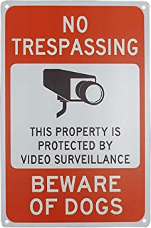 Monifith No Trespassing Video Surveillance Sign Beware of Dog Sign Outdoor Warning Signs for Property Metal Sign Home Business 8X12Inch