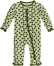 Kickee Pants Little Girls Solid Layette Classic Ruffle Coverall with Zipper