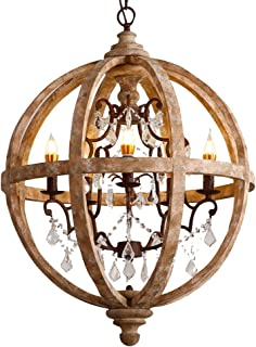 "Lovedima New 24"" Wide Retro Rustic Weathered Wooden Globe Chandelier Crystal 5-Light Pendant Lighting"