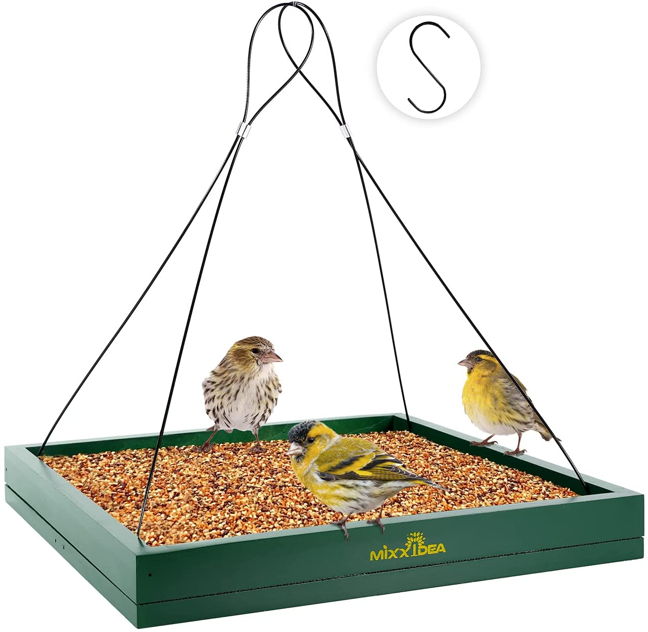 MIXXIDEA Bird Feeder Hanging Tray, Seed Tray Wooden Platform Hummingbird Feeder Hanging Tray Mesh Seed Platform for Garden Yard Outside Decoration Attracting for Wild Birds (Green-1pk)