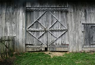 Laeacco 7x5FT Vinyl Backdrop Old Barn Doors Photography Background Rustic Wooden House Wall Front Door Fence Countryside Children Cowboy Adults Photo Portrait Background Art Digital TV Video Photo