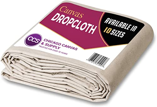 CCS CHICAGO CANVAS & SUPPLY All Purpose Canvas Cotton Drop Cloth, 6 by 9 Feet