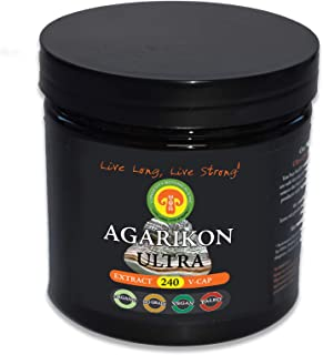 Organic AGARIKON Mushroom Powder Extract: Immunity Longevity Superstar, 240 Vegan Caps, 2 Month Supply, 30% Beta Glucans, Adult Strength, Fruiting Body, No Filler, Reduce Inflammation, Breathe Easier