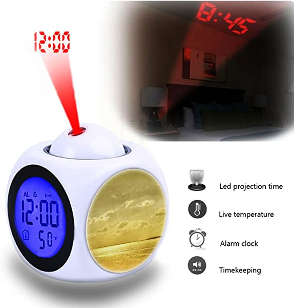 Projection Alarm Clock Wake Up Bedroom With Data And Temperature Display Talking Function LED Wall Ceiling Projection Customize The Pattern 029 Background Gold Beach Sea Ocean Beautiful Beach