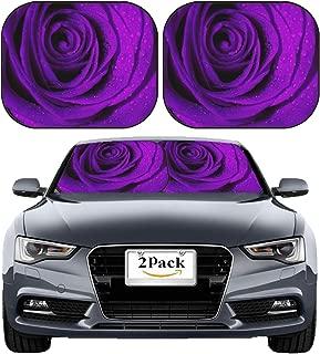 MSD Car Sun Shade Windshield Sunshade Universal Fit 2 Pack, Block Sun Glare, UV and Heat, Protect Car Interior, Image ID: 4993528 Macro Image of Dark Purple Rose with Water Droplets