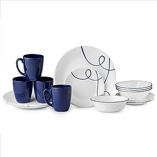 Corelle Classic Lia 16-piece Dinnerware Set - White & Blue