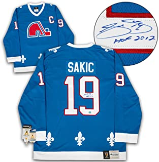 Joe Sakic Quebec Nordiques Signed Fanatics Vintage Hockey Jersey with HOF  Note 879b14a42