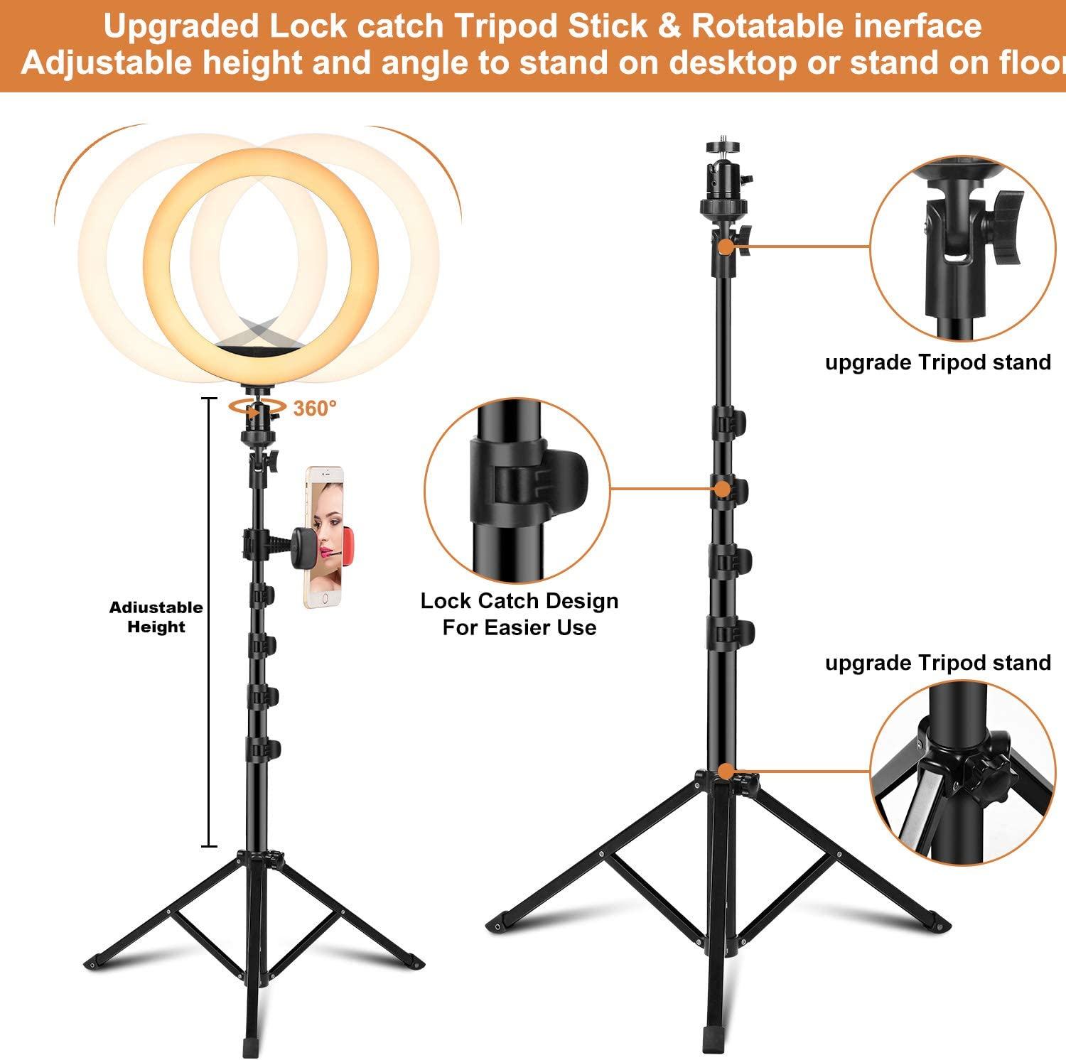 Upgraded Mini LED ringlight 3 Light Modes /& 10 Brightness Level with Remote PEHESHE Selfie Ring Light 10 with Tripod Stand /& Phone Holder for Live Stream//YouTube//Makeup//Photography//TikTok