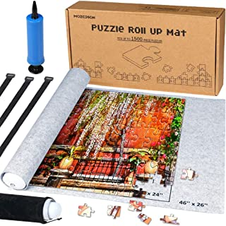 Puzzle Mat Roll Up for Jigsaw Puzzles Upto 1500 Pcs, Jigsaw Puzzles Roll Up Mat with Inflatable Tube+Mini Pump+Felt Mat+3 Elastic Fasteners+Drawstring Storage Bag, 46