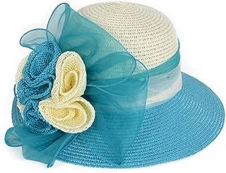 VECRY Women Floppy Sun Beach Straw Hats Wide Brim Flower Bucket Summer Hat