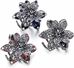 ISKYBOB Set of 3 Mini Jaw Clips, Vintage Metal Rhinestone Hair Claw Clip Hair Accessories for Women
