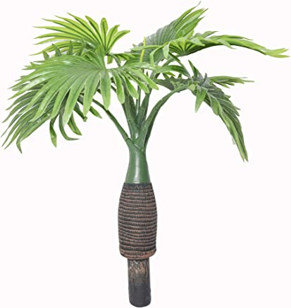 Fourwalls Synthetic Artificial Bottle Fan Palm Bonsai Plant Without Pot (Green, 40 cm Tall)