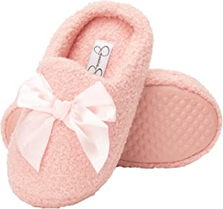 Jessica Simpson Girls Slip-On Clogs - Fuzzy Comfy Warm Memory Foam Sherpa Slippers with Satin Bow