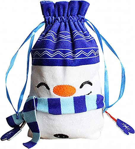 high quality HalloweenDrawstring Bags Snowman Gift Bags Candy Bags Storage Bags Halloween Christmas Party high quality Favor new arrival Supplies (Blue) outlet online sale