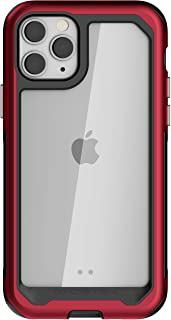 Ghostek Atomic Slim iPhone 11 Pro Case Clear with Red Military Grade Aluminum Bumper Heavy Duty Protection Premium Space M...