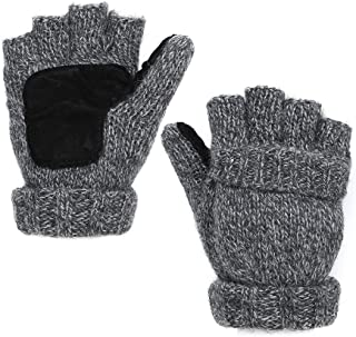 EGOGO Knit Convertible Fingerless Gloves Warm Wool MittensSuede Thermal Insulation Mittens For Men and Women E605-1