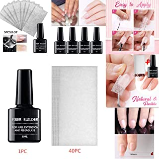 Nail Extension Fiberglass Kit, Fiberglass Nail Form, Nail Glass Fiber Gel for Nail Art Extension Art Equipment Fibernails Gel Tool - Nail Care Fiberglass Silk Nails Wrap Stickers (40PC)