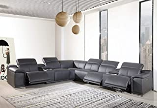 Blackjack Furniture Venice Modern Living Room Power Reclining Sectional Set with Console, 8 Piece, Dark Gray
