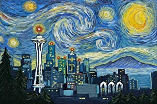 Seattle, Washington - Skyline - Van Gogh Starry Night (12x18 Art Print, Wall Decor Travel Poster)