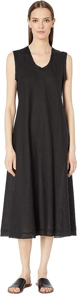 Organic Handkerchief Linen U-Neck Calf Length Dress