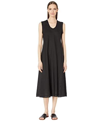Eileen Fisher Organic Handkerchief Linen U-Neck Calf Length Dress (Black) Women