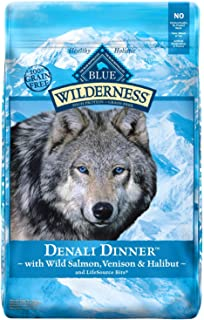 Blue Buffalo Wilderness Denali Dinner High Protein Grain Free, Natural Dry Dog Food with Wild Salmon, Venison & Halibut