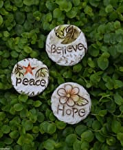 My Fairy Gardens Miniature - Peace HOPE Believe 3 Stepping Stone Pavers - Mini Dollhouse Supply Expressions