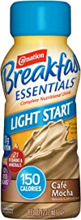 Carnation Breakfast Essentials Light Start Ready-to-Drink, Café Mocha, 8 Ounce Bottle (Pack of 24) (Packaging May Vary)