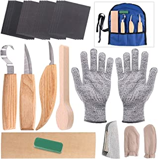 Glarks 26Pcs Wood Carving Tools Set, 3 Knives in Roll Leather Strop and Polishing Compound, Blank Wood Spoon, Cut Resistant Gloves and Finger Cots, Sandpaper for Woodworking Crafts Wooden Spoon Bowl