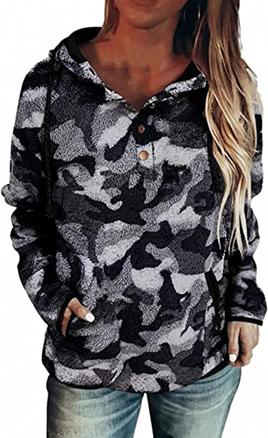 Plaid Shirts for Women Long Sleeve Blouse Camo Fleece Hoodie Button Down Tunic Tops With Pocket