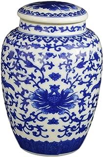 Festcool Blue and White Porcelain Floral Ceramic Tea Storage Covered Jar Container, Decorative, Jingdezhen
