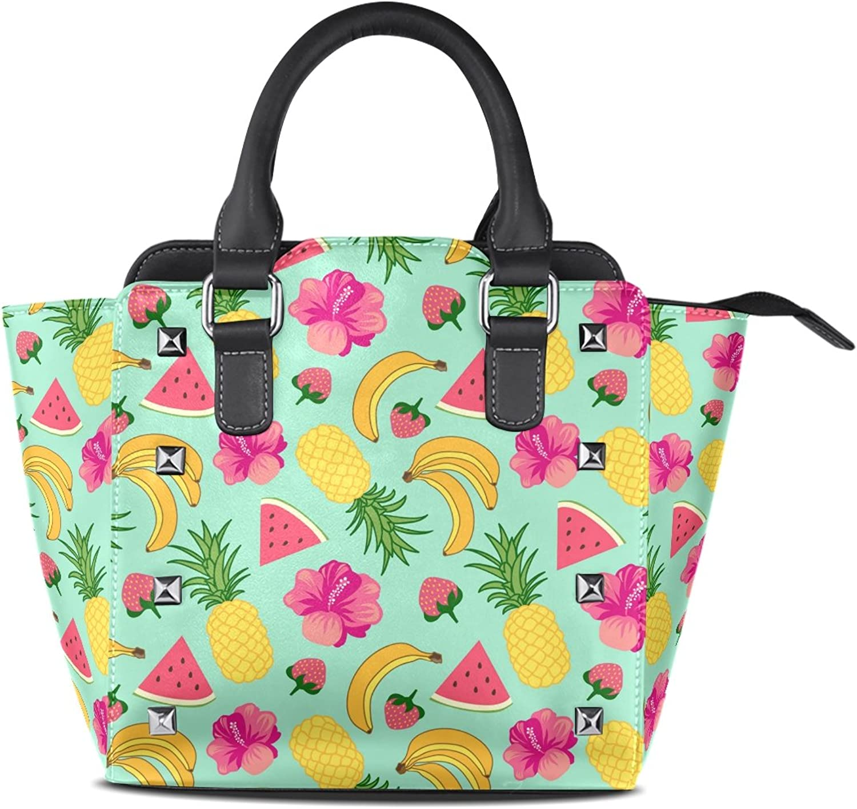 My Little Nest Women's Top Handle Satchel Handbag Tropical Fruit Ladies PU Leather Shoulder Bag Crossbody Bag