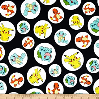Robert Kaufman Pokemon Charactures Fabric, Black, Fabric By The Yard
