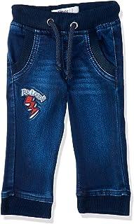 Giggles Front Embroidered Letter Side-Pocket Ribbed-Trim Drawstring Denim Pants for Boys