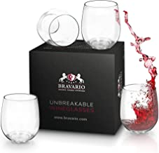 Bravario Unbreakable Stemless Wine Glasses Set of 4 Shatterproof Non-Breakable No Stem Tritan Plastic Outdoor Drinkware Tumbler Cups Dishwasher-Safe Goblets for Pool Parties Camping (4, 16 oz)