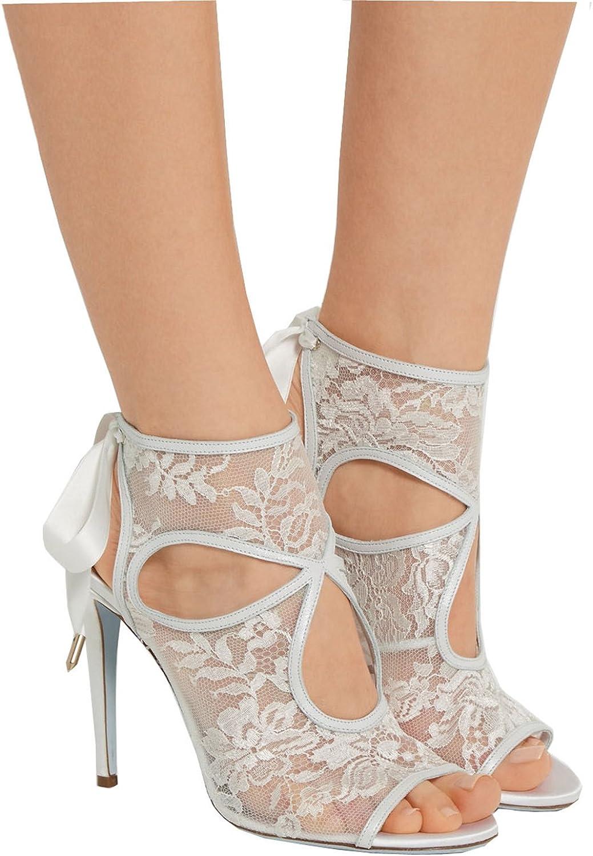 TDA Women's Elegant Cut-out Ribbons Slingback Lace Evening Party Dress Stiletto Sandals