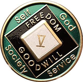 5 Year Green and Black NA Medallion Official Narcotics Anonymous Chip