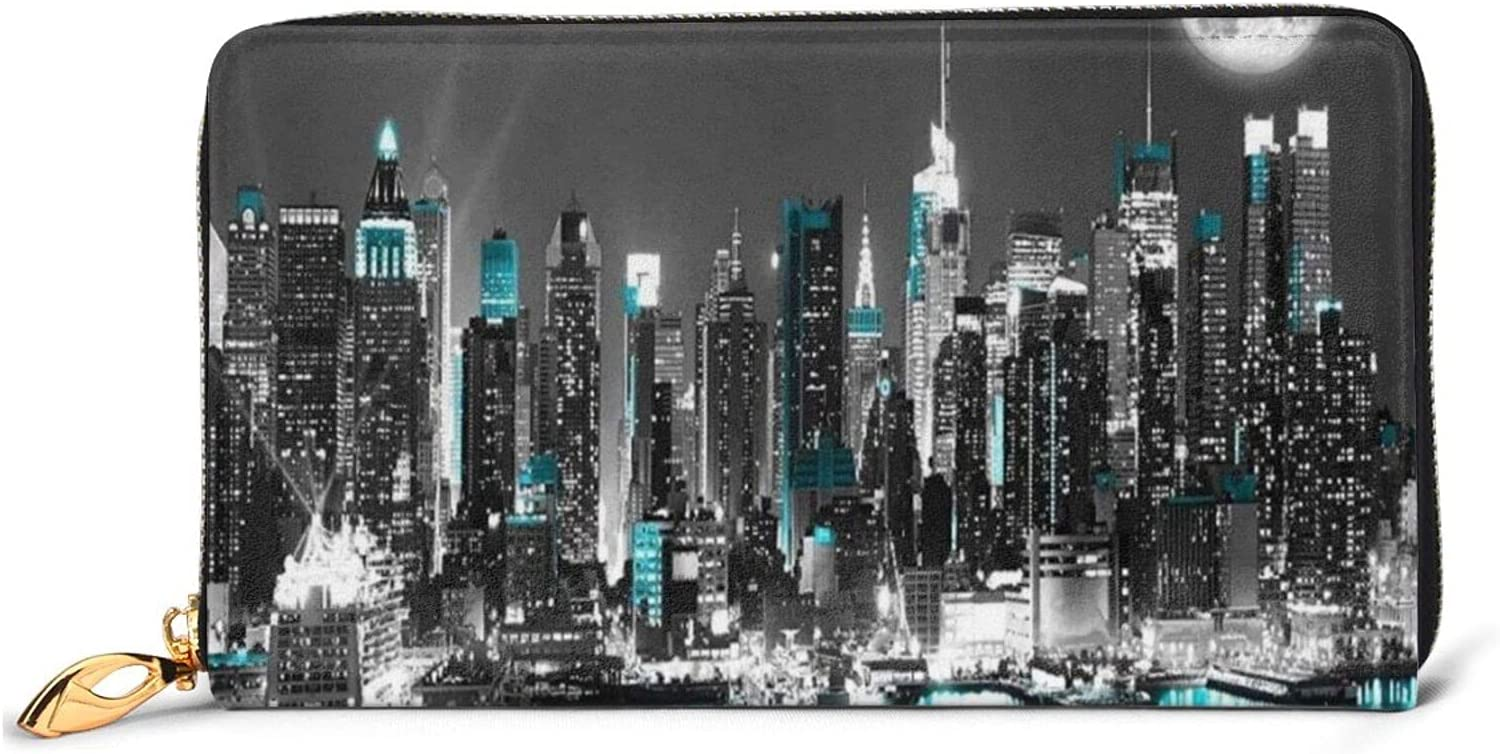 New York Paintings Leather Wallet Women Cl Purse 2021 autumn High order and winter new Long Around Zip