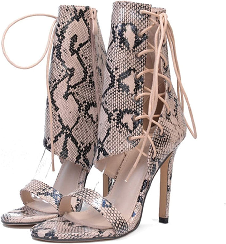 Women Party Pumps Super High Heel shoes Snakeskin Lace-Up Pumps shoes Women Ankle Straps Sandals