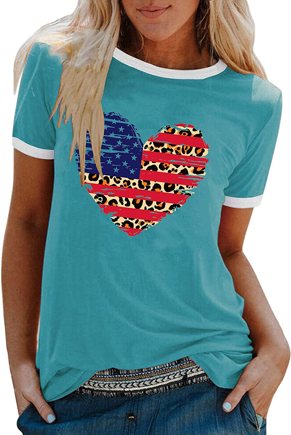 Womens Independence Day Heart-Shaped Pattern Tops Short Sleeve Round Neck Tee Loose T Shirt Printed Tunic