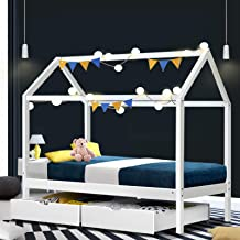 Artiss Wooden Single Bed Frame | Kids House Bed with Underneath Storage Drawers | White