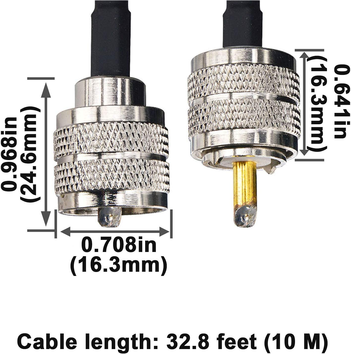 65.6 Feet BOOBRIE UHF Cable RG58//U Coaxial Cable PL259 Adapter UHF Male to UHF Male Radio Antenna Cable Ham Radio Coaxial Cable Low Loss CB Coax Cable for CB Ham Radio//Antenna//Broadcast//Telecom