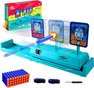 BOUNHOHE Electronic Running Target Scoring Auto Reset Shooting Digital Target for Nerf Guns, with 40 Pcs Refill Darts and ...