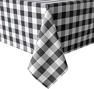 Hiasan 60 x 84 Inch Checkered Tablecloth Rectangle - Wrinkle Resistant and Waterproof Table Cloth for Picnic, Dinner and Party, Washable Polyester Fabric, Black and White Gingham Pattern
