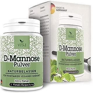 D-Manosa en polvo • tratamiento dietético para la cistitis • 100 g (2 meses de suministro) • 100% puro y natural y vegano y sin aditivos • Hecho en Alemania