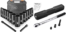 TACKLIFE 3/8-inch Drive Impact Socket Set Metric and 3/8'' Drive Click Torque Wrench Set