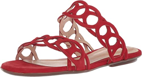 SCHUTZ damen& 039;s YASLIN Slide Sandal, Scarlet, 6 M US